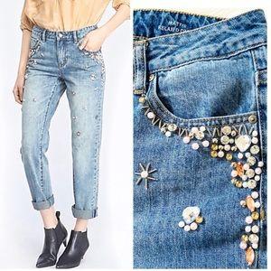Velvet Heart beaded cropped relax fit jeans